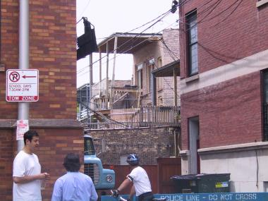 Aftermath of the 2003 Lincoln Park porch collapse in the 700 block of West Wrightwood Avenue.