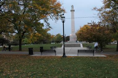 Illinois Centennial Monument in Logan Square.