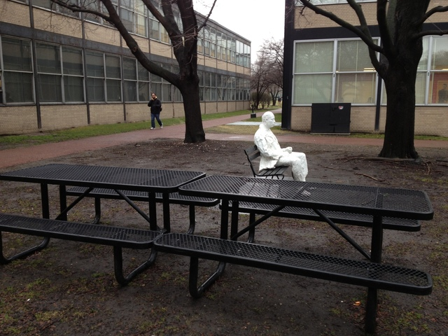 <p>On a 6-by-9-foot space near Perlstein Hall at the Illinois Institute of Technology&#39;s Bronzeville campus, the Man on a Bench is the smallest park within the Chicago Park District. The space reserved for two benches in the foreground is larger.</p>