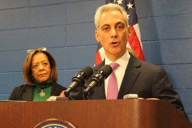 Mayor Rahm Emanuel, with CPS CEO Barbara Byrd-Bennett at his side, announced Jones College Prep will not be moving, but doubling in size.