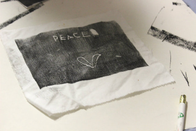<p>Peace artwork created by students at North River Elementary as part of their 10,000 Ripples curriculum.</p>