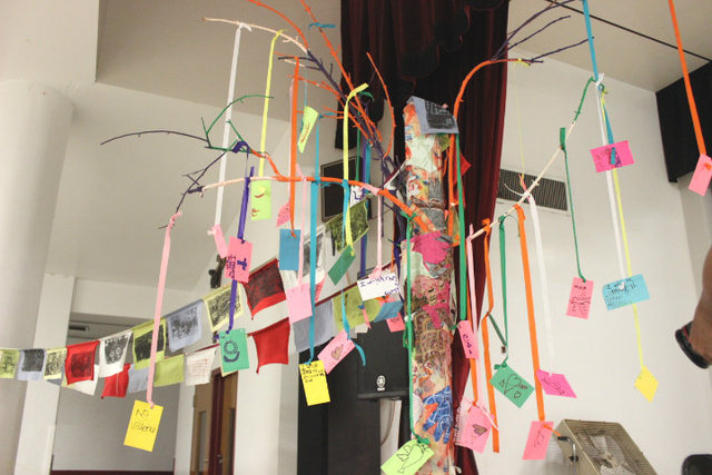<p>Peace Tree created by students of North River Elementary as part of their 10,000 Ripples curriculum.</p>