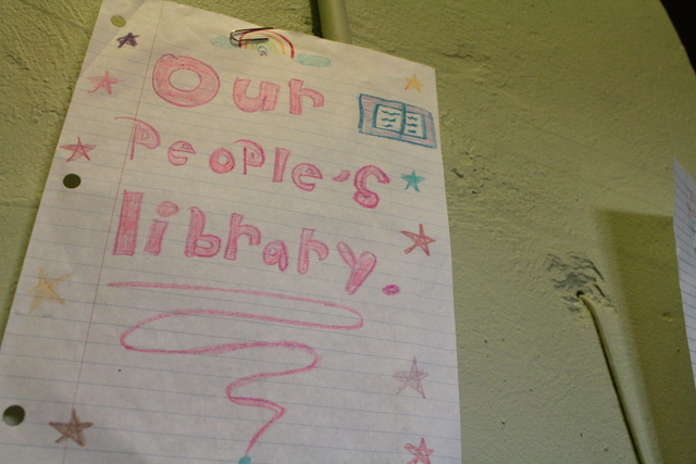 <p>One of the drawings that decorate The People&rsquo;s Library, a &ldquo;micro-library&rdquo; started by Rachel Perveiler, a teacher in Little Village. Perveiler went through Illinois State University&rsquo;s STEP-UP program, which encourages teachers to connect with the community where they teach.</p>