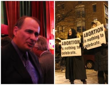 David Axelrod (left) attended Planned Parenthood's celebration of Roe v. Wade Wednesday night, which also drew anti-abortion protesters.