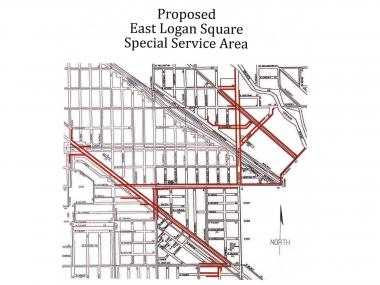 Map of the proposed Logan Square Special Service Area.