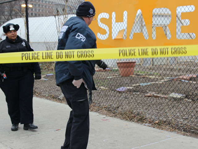 <p>Police remained on the scene where a man was shot at 2 p.m. Wednesday near Chicago Lights Urban Garden.</p>