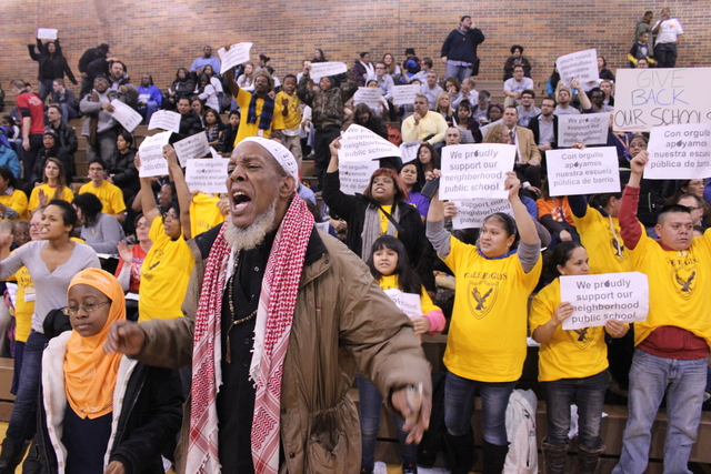 <p>Spencer Bey, 63, whose daughter is a student at Gale Elementary shouted down Chicago Public Schools officials at a community meeting Monday night. He said he felt disrespected at the meeting. &quot;They need to put more money into schools,&quot; he said.</p>