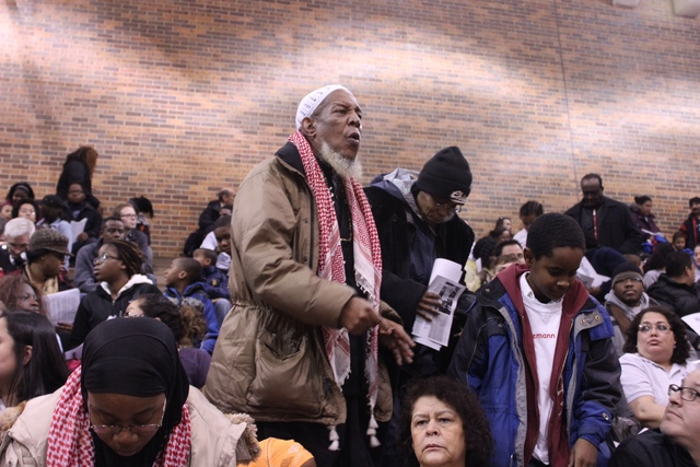 <p>Spencer Bey, 63, whose daughter is a student at Gale Elementary shouted down Chicago Public Schools officials at a community meeting Monday night.</p>