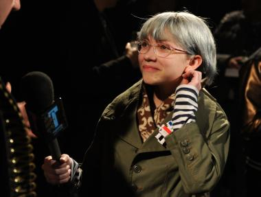 Fashion blogger Tavi Gevinson interviews backstage at the Y-3 Autumn/Winter 2010 Fashion Show during Mercedes-Benz Fashion Week at the Park Avenue Armory on Feb. 14, 2010, in New York City.