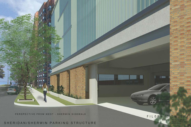 <p>Tawani Enterprises, owned by Col. James Pritzker, plans to erect a four-story parking garage at the intersection of Sheridan Road and Sherwin Avenue, where the Shambhala Meditation Center is located.</p>