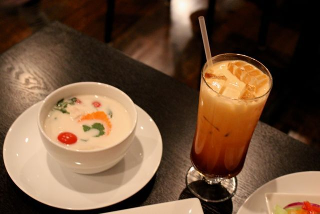 <p>Tom Kha soup is made of light coconut milk served with chicken, fresh lime juice, lemongrass, citrus leaves, <a href=