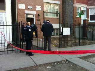 <p>Bullet holes were seen near where a man was fatally shot in the 4000 block of South Wilcox Avenue.</p>