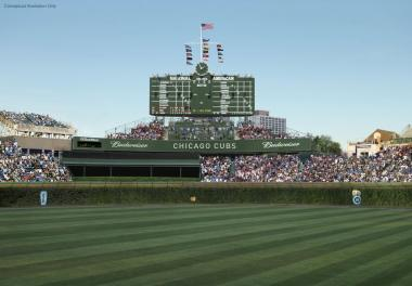 The historic scoreboard at Wrigley Field.