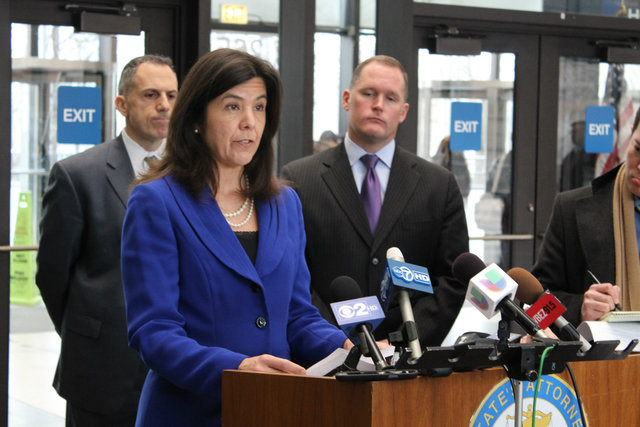 <p>Cook County State&#39;s Attorney Anita Alvarez speaks after a bond court hearing for Michael Ward and Kenneth Williams on Feb. 12.</p>
