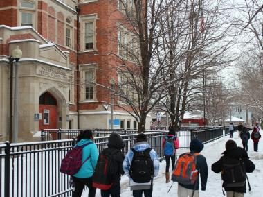 Students let out of Armour School, 950 W. 33rd Place in Bridgeport, on Feb. 4, 2013.
