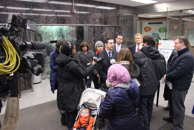 <p>Ald. Scott Waguespack (32nd) talks to media in the lobby of CPS headquarters, Wednesday, Feb. 6, 2013.</p>