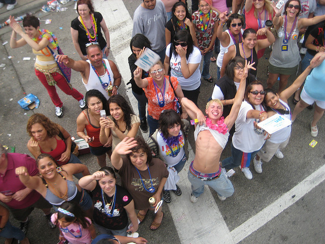 <p>Pride Fest will be a week earlier than the Pride Parade. Here, parade attendees in 2008 smile for the camera.&nbsp;</p>