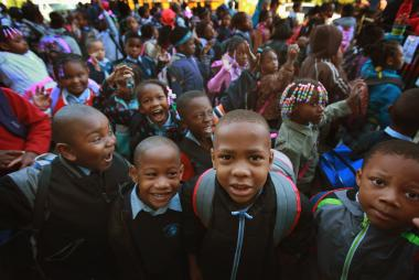 Students at Frazier International Magnet School wait outside last fall before the start of school.