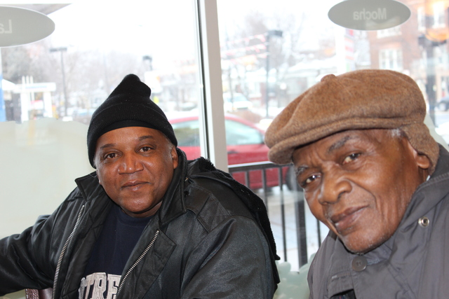 <p>William Hunt (from l.) and Cleveland Ford are two friends who meet weekly at the McDonald&#39;s restaurant at 7900 S. King Drive to talk about every thing from sports to politics over a cup of coffee.</p>
