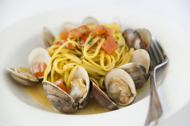 <p>Pasta with mussels at Coco Pazzo Cafe, 636 N. St. Clair St.</p>