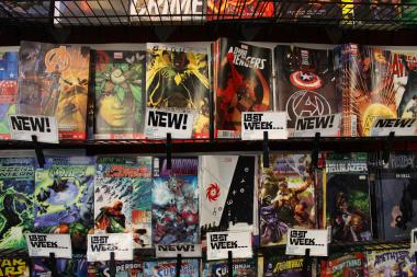 Comic books adorn the walls at Third Coast Comics in Edgewater.