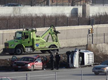 At least one person was killed and two other people were taken to area hospitals in critical condition after a car accident on the Dan Ryan Expressway Feb. 3, 2013.