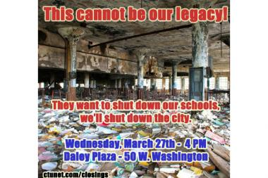 This image accuses the CEO of Chicago Public Schools of leaving Detroit public schools in shambles.