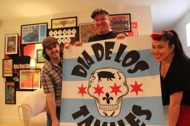 Keith Carlson, Sam Wahl and Jeni Wahl show off their logo for Dia De Los Tamales (Day of the Tamales). The trio recently reached their Kickstarter goal of $30,000 and will open a shop on 18th Street this spring.