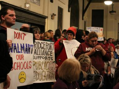 Members of the Bridgeport Alliance and SOUL groups protested what they believed is a privatization of public education through the addition of charter schools at a Feb. 6, 2013, CPS forum.