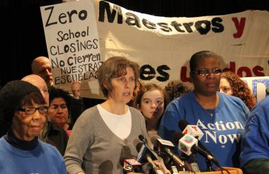 "Erica Clark of Parents 4 Teachers accused CPS of ""misinformation and deception."""