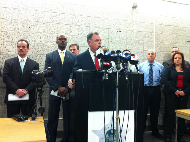 <p>Chicago Police Supt. Garry McCarthy speaks at a news conference Monday night announcing that two men &mdash; Michael Ward, 18, and Kenneth Williams, 20 &mdash; have been charged in connection with the slaying of 15-year-old Hadiya Pendleton.</p>