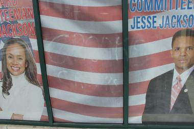 "Someone scrawled ""Crooks"" on the front of the South Shore headquarters of Jesse Jackson Jr. and Sandi Jackson."