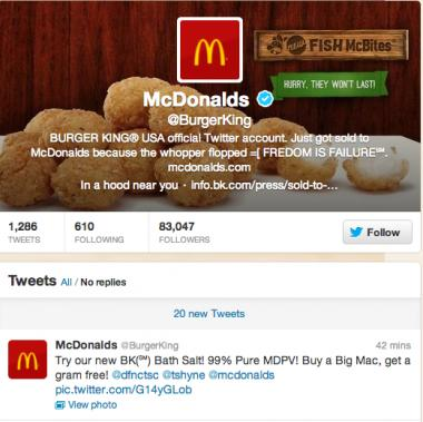 The Burger King Twitter account was suspended after it apparently was hacked Monday.