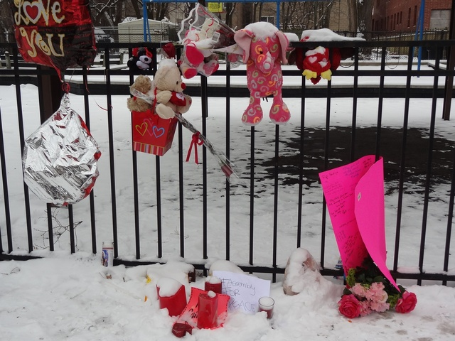 <p>A memorial near where Hadiya Pendleton, 15, was killed in January.</p>