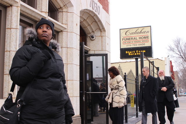 <p>Mourners enter Calahan Funeral Home, 7030 S. Halsted St., for the viewing of slain teen Hadiya Pendleton.</p>