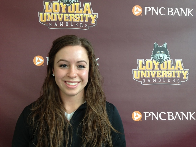 <p>Loyola University catcher Hannah Berris has started 10 games, all during her sophomore year. She missed her freshman and junior seasons due to a right knee injury.</p>
