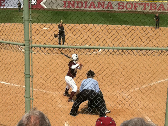 <p>Loyola University senior catcher Hannah Berris bats against Indiana during her sophomore year. Berris has had three knee surgeries during her time with the Ramblers, which has limited her to only 29 career at-bats.</p>