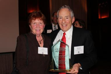 Herman Berghoff poses with his wife, Jan. Berghoff was inducted as an honorary member of the Chicago Loop Alliance Board Tuesday night at the University Club of Chicago.