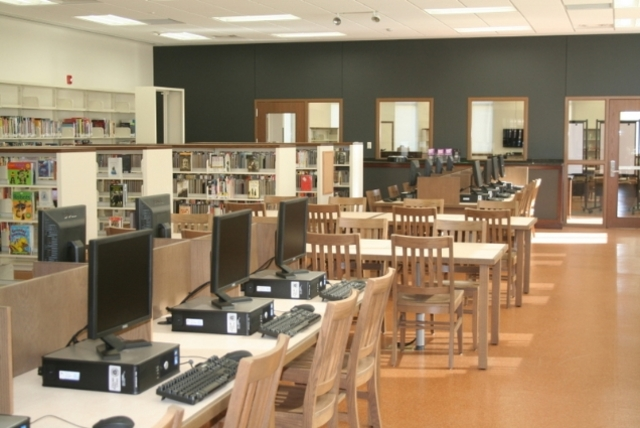 <p>Interior of the newly renovated Humboldt Park Library, which will reopen Saturday.</p>