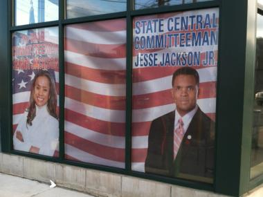 The space used as offices by former Congressman Jesse Jackson Jr. and his wife, former Ald. Sandi Jackson, still bears their likeness, even after the were charged for federal crimes.