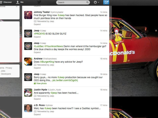 <p>The Burger King Twitter hacker &mdash; an apparent Chief Keef fan &mdash; struck again Tuesday, this time on Jeep&#39;s account.</p>