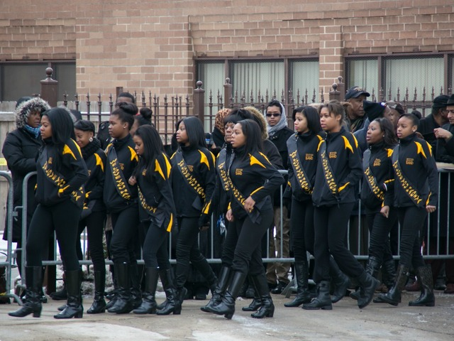 <p>Hadiya Pendleton&#39;s teammates on the King College Prep majorettes gather outside Greater Harvest Baptist Church.</p>