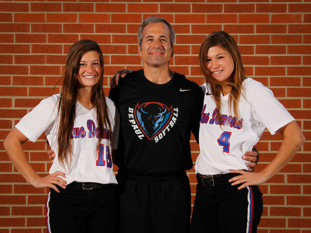 <p>DePaul softball coach Eugene Lenti poses with two of his daughters, Blue Demons players Ali Lenti, left, and Gena Lenti.</p>