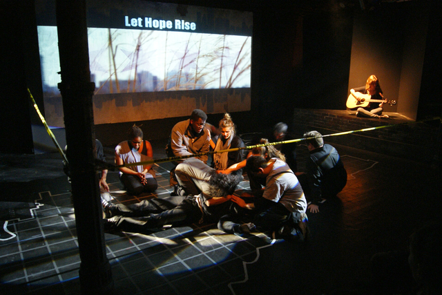<p>Cast of Crime Scene: A Chicago Anthology performs at Collaboraction Theater in the Flat Iron Building in Wicker Park.</p>