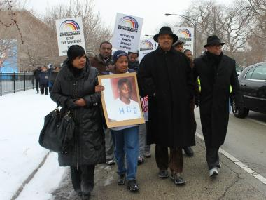 Rev. Jesse Jackson led a march against gun violence Saturday to Vivian Gordon Harsh Park, where 15-year-old Hadiya Pendleton was shot.