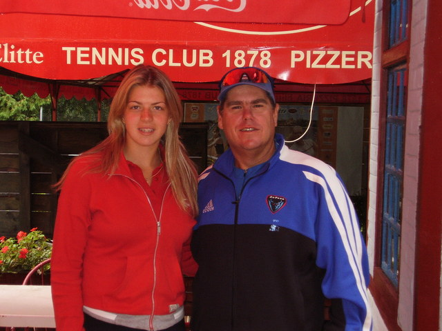 <p>DePaul women&#39;s tennis coach Mark Ardizzone poses with former Blue Demons player and current graduate assistant coach Katarina Milinkovic during a recruiting trip to Belgrade, Serbia, in 2006.</p>