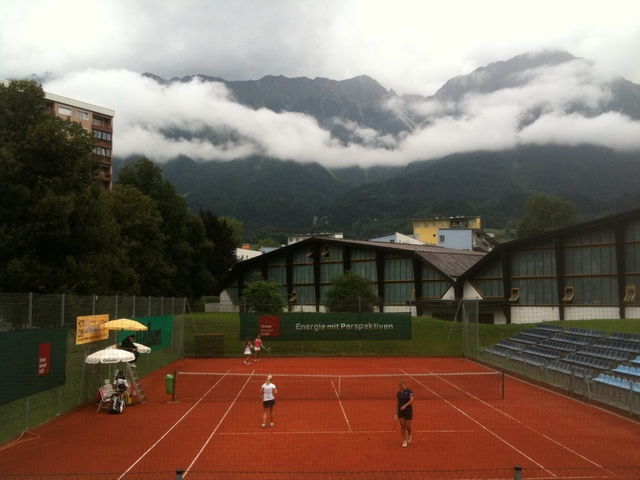 <p>DePaul women&#39;s tennis coach Mark Ardizzone takes a picture of a tennis court in Innsbruck, Austria in 2011.</p>