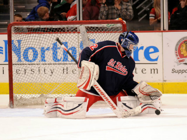 <p>St. Rita senior goalie Marty Napleton stopped 28 shots in a 5-0 victory over St. Viator in the 2012 state championship game at the United Center.</p>