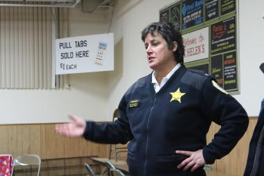 Near West District Commander Melissa Staples addresses residents at a CAPS meeting Tuesday evening.