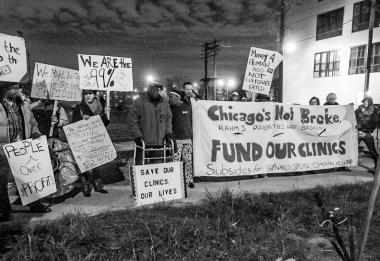 Protesters with the Mental Health Movement and Occupy Chicago demonstrate in 2012 to keep Chicago's mental health clinics open.